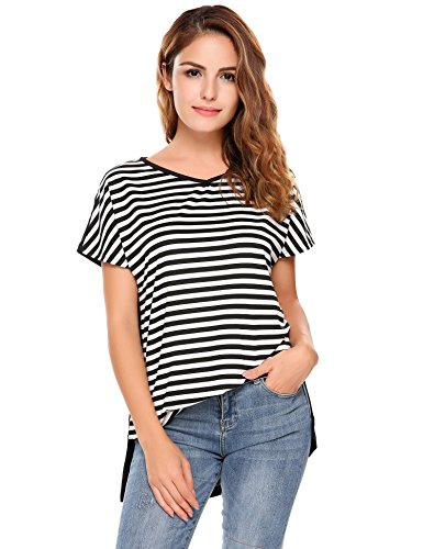 Zeagoo Women's Tops,Short Sleeve Patchwork Striped T-Shirts Tops Black XL (Baby People Doll Tee)