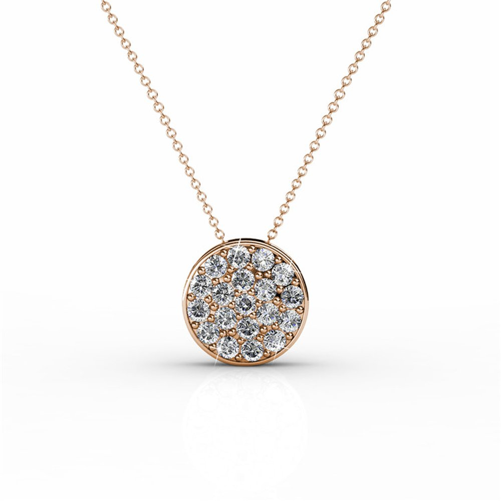 """Cate & Chloe Nelly """"Valor"""" White Gold Plated Pave Stone Necklace w/Swarovski Crystals, Modern Trendy Beautiful Round Cut Diamond Cluster Necklace, Wedding Statement Necklaces (Rose Gold) - MSRP $145"""