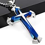 Letshopping® Fashion High Quality Stainless Steel Cross Pendant Men's Necklace Chain (Blue)