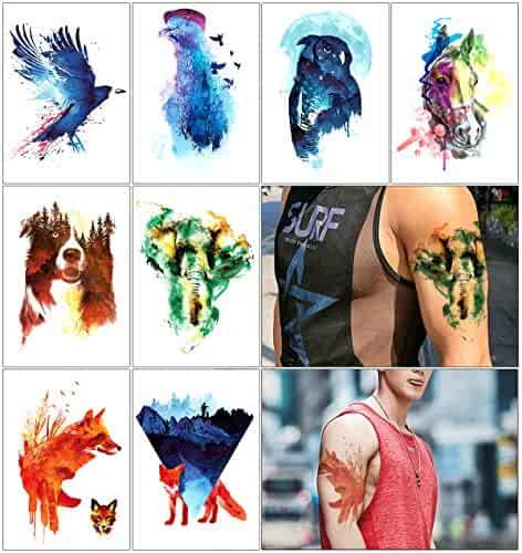 25aaf9b6e Oottati 8 Sheets Temporary Tattoo Arm Leg Fake Stickers - Hand Paint  Colorful Watercolor Ink -