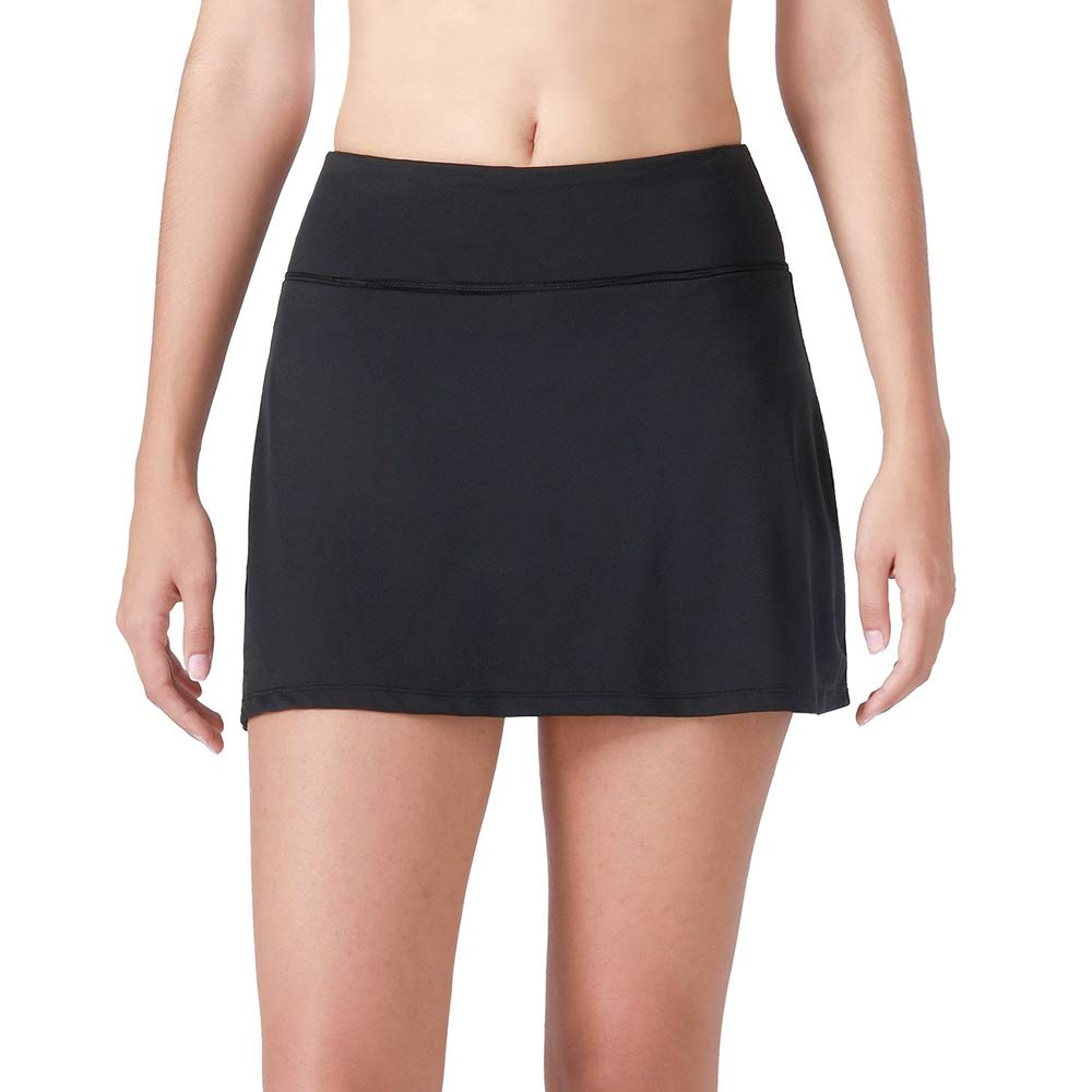 Women's Athletic Skort with Pocket Lightweight Skirt with Inner Shorts for Running Golf Tennis Workout Black Size M by Gooket