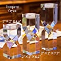 Amazing Home Large Crystal Candle Holders Set of 3, 4.6/6.2/7.7 inches Height, Elegant Heavy Solid Square Diamond Cut Tealight Holders Sets, Centerpieces for Home Decor and Wedding