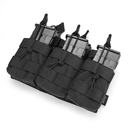 ProCase Open-Top Triple Stacker Mag Pouch, Tactical Magazine Pouch with Bungee Straps for AR15 AK47 M4 M16 Magazines -Black (M4 Triple Mag Pouch)
