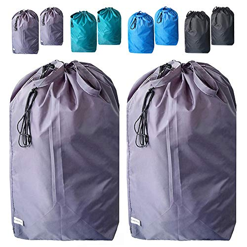 UniLiGis Tear Proof Nylon Laundry Bag with Handles,Hamper Liner with Drawstring Closure for Travel,Dirty Clothes Bag Fit Most Laundry Hamper and Sorter,27.5x34.5'' (Grey 2 Pack)