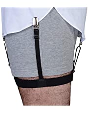 Garter Style Shirt Stays - Adjustable Elastic Shirt Garters with Locking, Non-Slip Clips (2-Pack, 1-Pair)