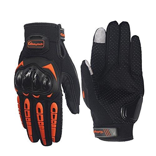 Carbon Fiber Motorcycle Motorbike Cycling Racing Full Finger Gloves (Orange,XXL)
