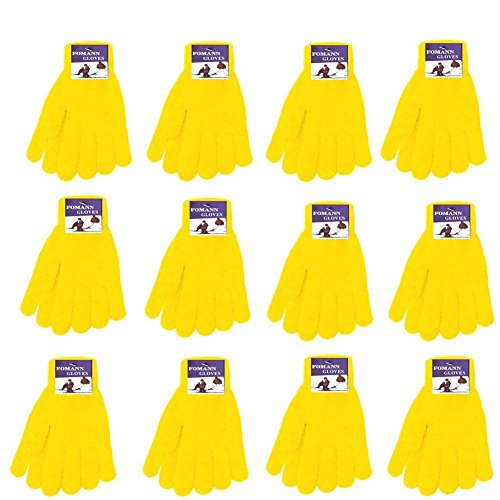 Winter Gloves Magic Gloves Wholesale 12 Pairs- One Size Fits All (Yellow) (Gloves 1 Magic)