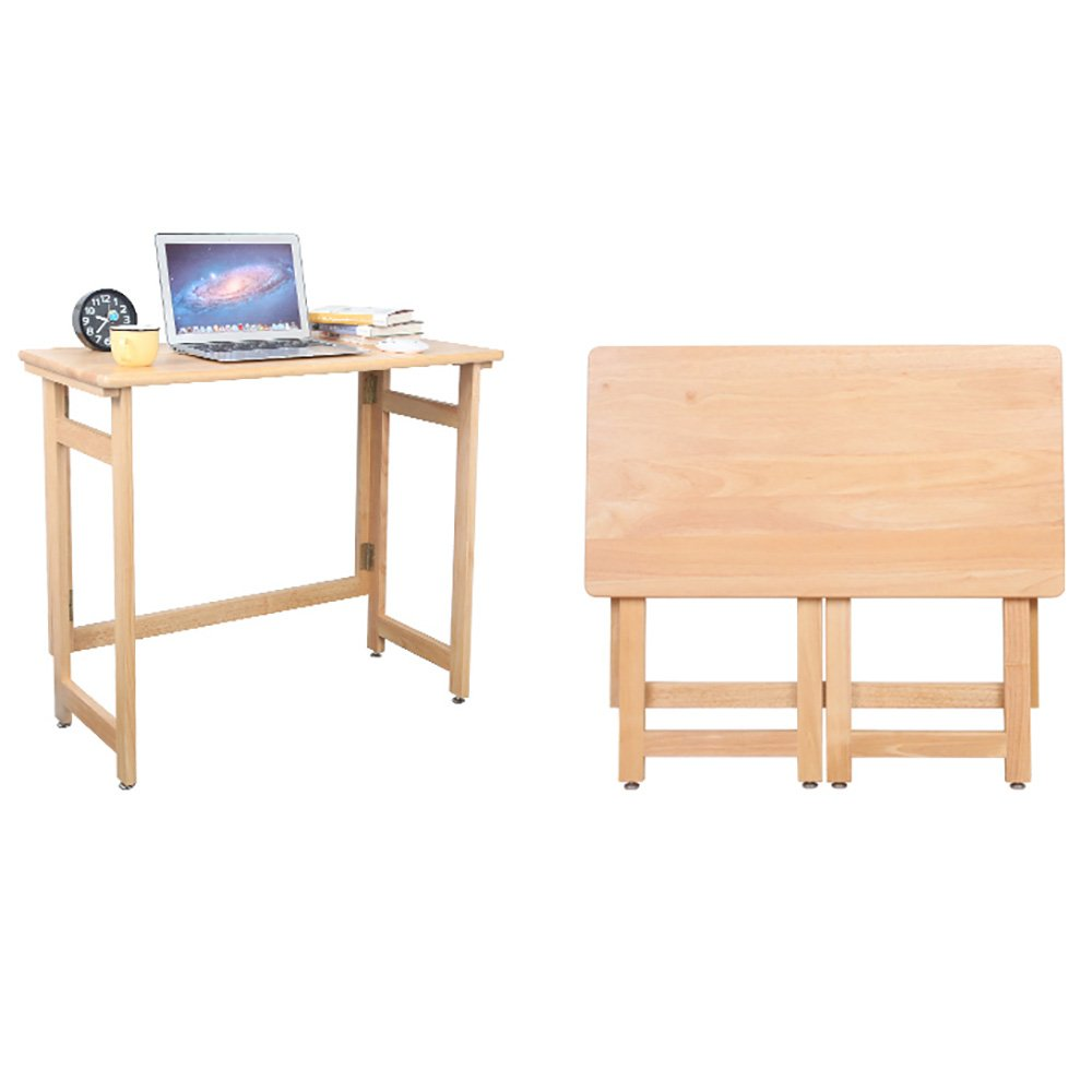 ZZHF 折り畳みテーブル/ソリッドウッド折りたたみコンピュータデスク/ホームブックデスク/ポータブルダイニングテーブル デスク B07C1HN7RK