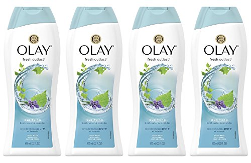 Body Wash for Women by Olay, Fresh Outlast Purifying Birch & Lavender Body Wash 22 oz, (4 Count)