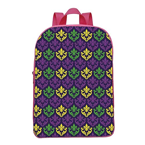 Mardi Gras Durable Backpack,Antique Old Fashioned Motifs in Mardi Gras  Holiday Colors Tile Pattern for School Travel,8 6