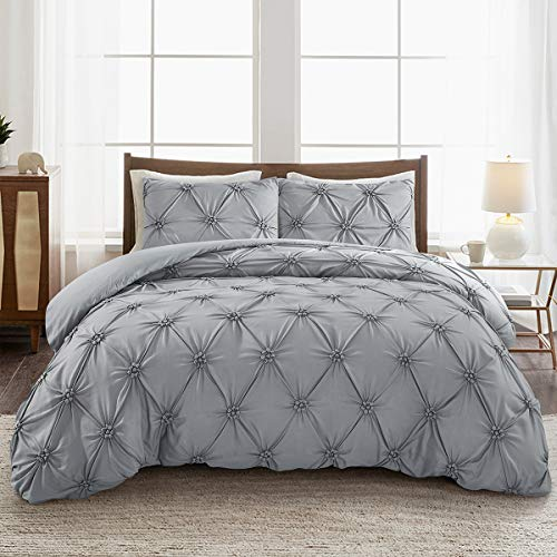 ARTALL Luxury Pinch Pleat Pintuck Duvet Cover Set, Elastic Embroidery Tufted Ruffles 3 Piece, Diamond Pattern, Full/Queen, Gray (Gray Tufted Comforter)
