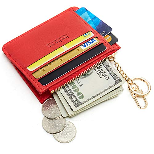 Cyanb Slim Leather Credit Card Case Holder Front Pocket Wallet Change Purse for Women Girls with keychain Rococo Red (Card Wallet Key)