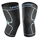 Cambivo 2 Pack Knee Brace, Knee Compression Sleeve Support for Running, Arthritis, ACL, Meniscus Tear, Sports, Joint Pain Relief and Injury Recovery (X-Large, Black/Blue)
