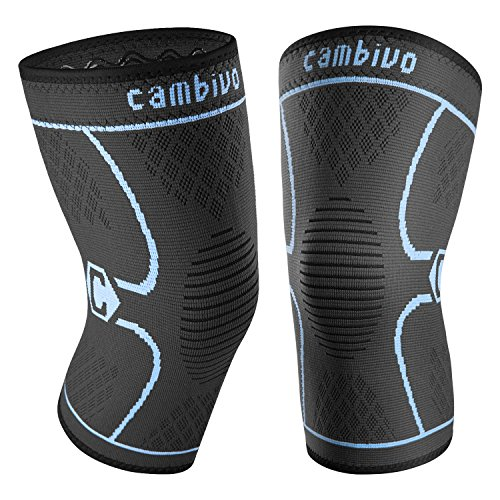 Cambivo 2 Pack Knee Brace, Knee Compression Sleeve Support for Running, Arthritis, ACL, Meniscus Tear, Sports, Joint Pain Relief and Injury Recovery (X-Large, Black/Blue) by CAMBIVO
