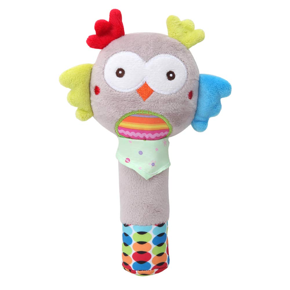 DierCosy Easy Owl Baby Rattle Toy Multi-Colored Cotton Animal Toy For Baby Over 6 Month (Grey)5.9 Inch BabyProducts