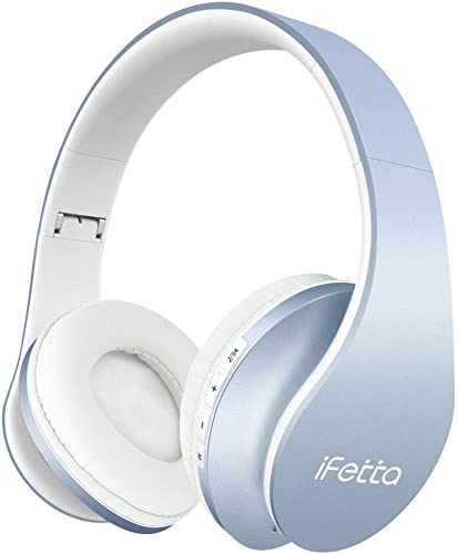 Ifecco Bluetooth Headphones, 4 in 1 Upgrade Bluetooth Foldable Over-ear Headsets with Micro Support SD TF Card Sky Blue