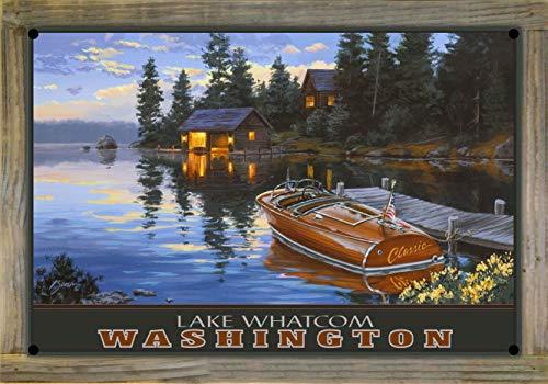 Northwest Art Mall Lake Whatcom Bellingham Washington Criscraft Boat Dock Metal Print on Reclaimed Barn Wood by Darrell Bush (12