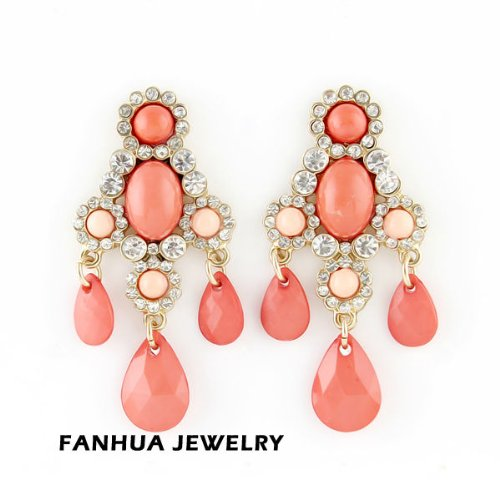 Passion-Jewel New Design Luxury Gold Color Alloy Red Rhinestone Imitation Shinning Crystal Water Drop Shape Beads Dangle Earrings