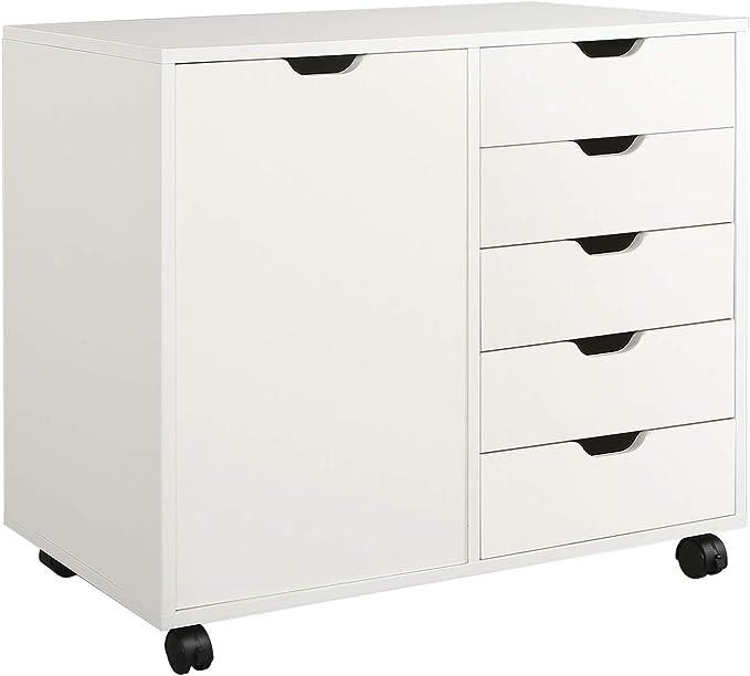 5 drawer white double dresser chest with the door by DEVAISE - Mid century modern dresser