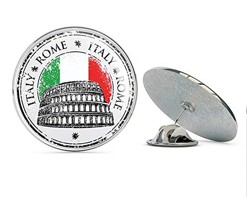 TG Graphics Rome Italy Flag Grunge Stamp Travel Art Round Metal Lapel Pins Cute Cool Hat Shirt Pin Tie Tack ()