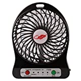Rasse Portable Mini USB Fan 4-inch Desktop Fan with 2200MAH Rechargeable Battery for Outdoor Hiking Camping Black