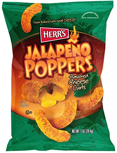 Herr Foods Jalapeno Poppers Cheese Curls, 1 Ounce -- 42 per - Poppers Jalapeno Cheese