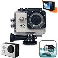 Xtech KoolCam AC200 HD 1080p Waterproof Action Camera / Camcorder captures Videos at 1080 pixels 30 frames per second with a Super 140 degree Wide angle Lens + Pro Accessories: Underwater Case, 900mAh Battery, Bike Mount, Flat Adhesive Stickers and Mount, It's the Perfect Camera / Camcorder for Kids and Adults
