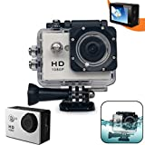 Xtech KoolCam AC200 HD 1080p Waterproof Action Camera / Camcorder captures Videos at 1080 pixels 30 frames per second with a Super 140 degree Wide angle Lens + Pro Accessories: Underwater Case, 900mAh Battery, Bike Mount, Flat Adhesive Stickers and Mount,