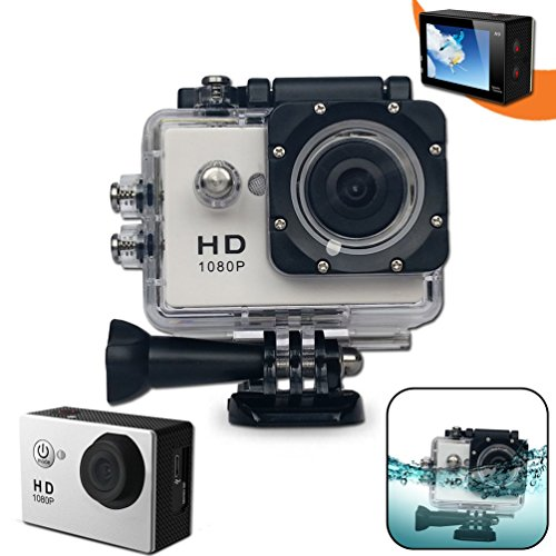 Xtech KoolCam AC200 HD 1080p Waterproof Action Camera / Camcorder captures Videos at 1080 pixels 30 frames per second with a Super 140 degree Wide angle Lens + Pro Accessories: Underwater Case, 900mAh Battery, Bike Mount, Flat Adhesive Stickers and Mount, by Xtech