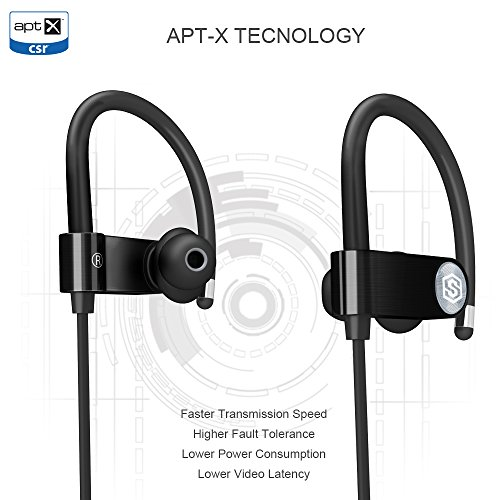 Wireless Headphones Bluetooth Sports Headset IPX7 Waterproof Earbuds APT-X Stereo On Ear Earphones Mic Upgraded SmartOmi SOLE Stainless Steel Made and 10 Hours Battery Great for Gym Running Workout