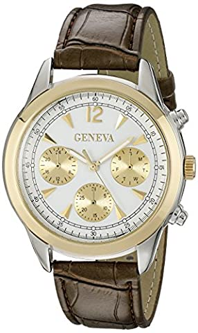 Geneva Men's FMDJM534 Two-Tone Stainless Steel Watch with Brown Faux Leather Band (Brown Leather Geneva Watch)
