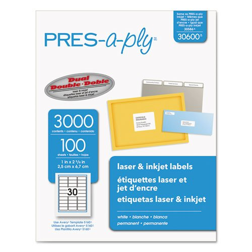 Pres-A-Ply Laser Address Labels, 1 x 2-5/8, White, 3000/Box