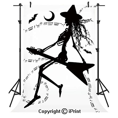 Music Photography Backdrops,Witch Flying on Electric Guitar Notes Bat Magical Halloween Artistic Illustration,Birthday Party Seamless Photo Studio Booth Background Banner 3x5ft,Black White ()