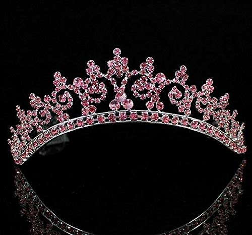 (Sexy Pink Austrian Rhinestone Crystal Crown Contoured Tiara Combs Hair Jewelry Headpiece Veil Party Birthday Bridal Wedding Parade Costume Queen Princess T301pink)