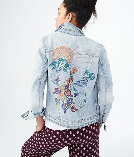 sh Embroidered Peacock Denim Jacket Xxlarge Light Wash (Peacock Embroidered Jean)