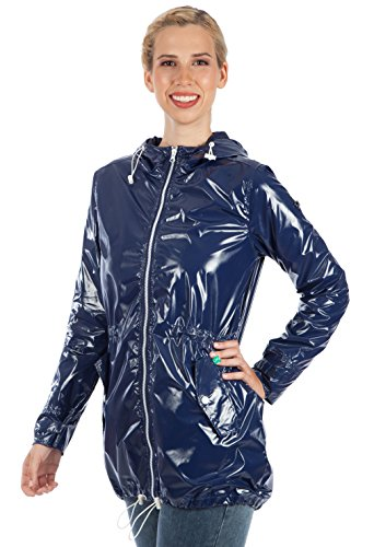"Waterproof raincoat ""Baby In-Baby Out-Baby Free"" 3-in-1 maternity convertible Medium Bright Navy"