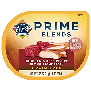 Nature's Recipe Prime Blends Wet Dog Food, Chicken & Beef Recipe, 2.75 Ounce Cup (Pack of 12), Grain Free
