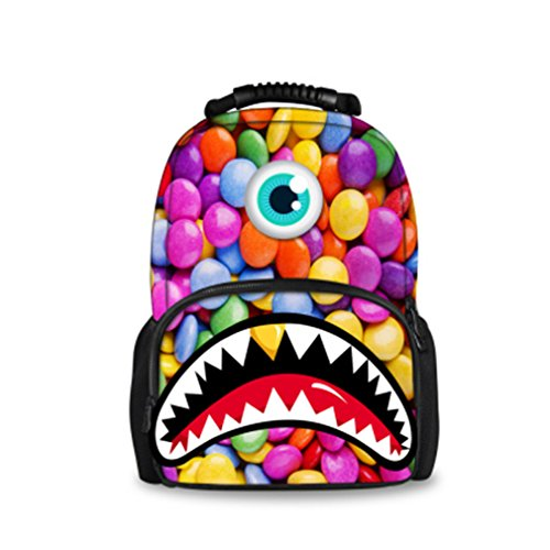 Backpack Students Female Large Capacity Backpack PU Floral Gold - 8