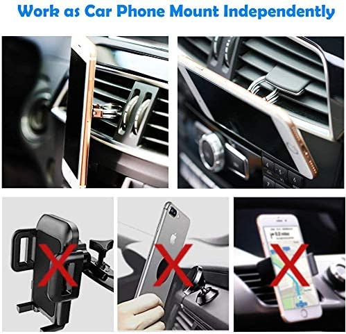 3 in 1 Universal Phone Ring Stand Car Holder Black Tvoip 2Pcs Bat 360 Degree Dual Ring Cell Phone Ring Holder Finger Grip Phone Holder and Tablet Stand Car Vent Phone Mount
