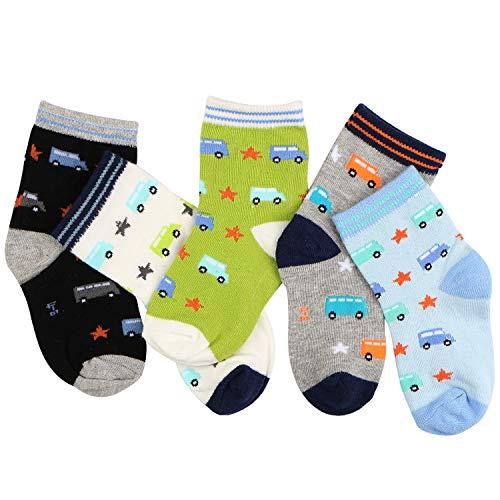 Boys Crew Socks 5 Pair Baby Toddler Striped Bus Star Cotton Socks For Boys 1-2Y ()