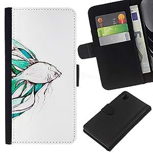 For Sony Xperia Z1 L39 Case , Koi Pond Japan Minimalism Nature - la tarjeta de Crédito Slots PU Funda de cuero Monedero caso cubierta de piel