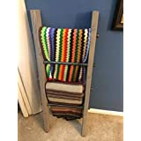 Rustic 2x4 Industrial Pipe Wood Blanket Ladder - Wood Quilt Ladder - Rustic Quilt Blanket Ladder - Pipe Decor Blanket Ladder