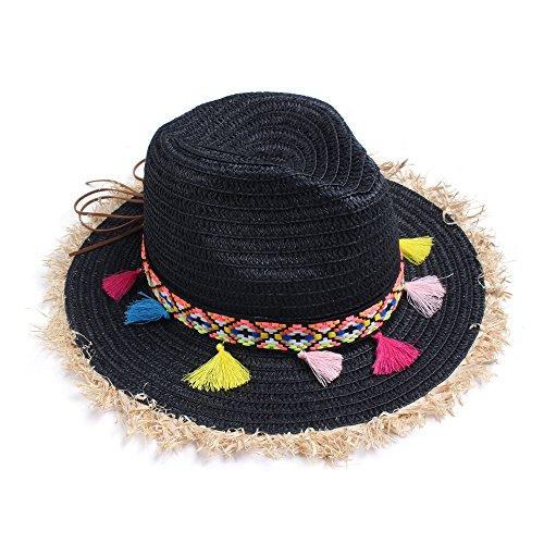 Vankerful Colorful Tassels Fashion Women's Straw Hat Wide Brim Beach Summer Sun Protection Hat Black