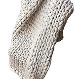 Giant Blanket,Chunky Knit Blanket 79x79in Merino Wool Blanket,Knitted Blanket, Boho Bedroom Home Decor Handmade Chunky Throw Christmas Present
