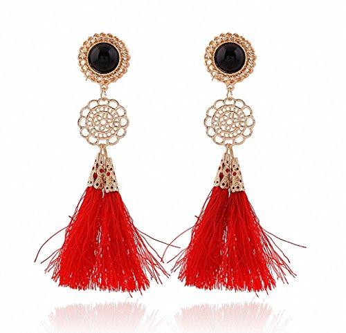 megko Vintage Bohemia Long Tassel Drop Earrings Earings for Women (red)