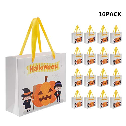 Halloween Gift Paper Bags, 16 Pack Halloween Pumpkin Trick or Treat Candy Bags Gift Present Bags with Rope Handles, Medium Size, 9.5 x 7.9 x 3 inch