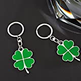 Jzcky Shzrp Silver and Green Color High Quality Zinc Alloy Four-leaf Clover Fortune Keychain (Four-leaf Clover)