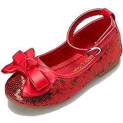 Girls Sequin Bowknot Flat Ballet Shoes