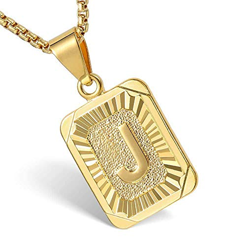 (Hermah Gold Plated Square Capital Initial Letter J Charm Pendant Necklace for Men Women Box Steel Chain 22inch Link)