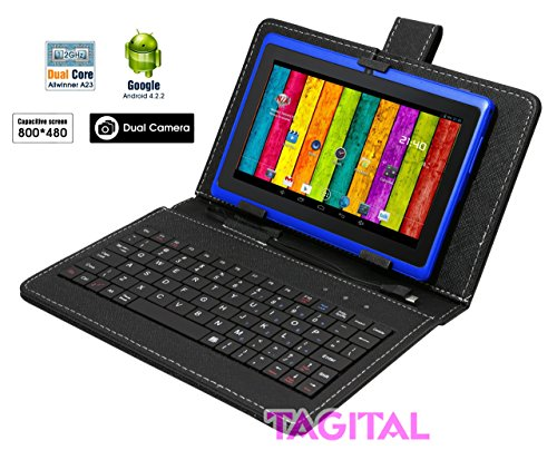 Tagital 7 Android 4.2 4GB MID Capacitive Touch Screen A13 Tablet WiFi Dual Camera Bundle Keyboard Blue